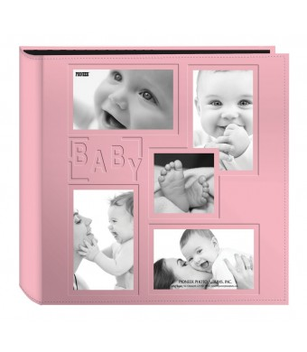 """Pioneer Collage Frame Embossed """"Baby""""  Sewn Leatherette Cover Photo Album, Baby Pink"""