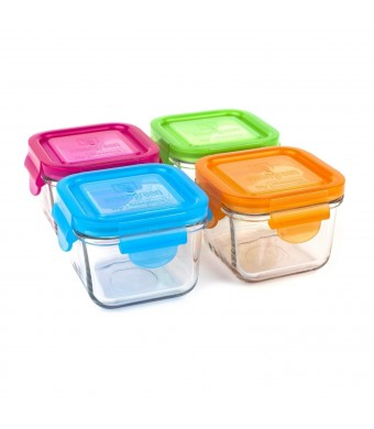Wean Green Garden Pack Snack Cubes Glass Food Containers, Multi-colored , Set of 4