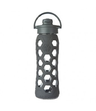 Lifefactory 22-Ounce Glass Bottle with Flip Cap and Silicone Sleeve, Carbon