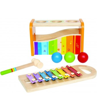 Hape - Pound and Tap Bench with Slide out Xylophone