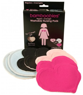 Super Soft Washable Nursing Pads by Bamboobies - 3 Pair Ultra-Thin Regulars (Black, Hot Pink, Pale Pink) and 1 Pair Thick Overnight (Pale Pink)