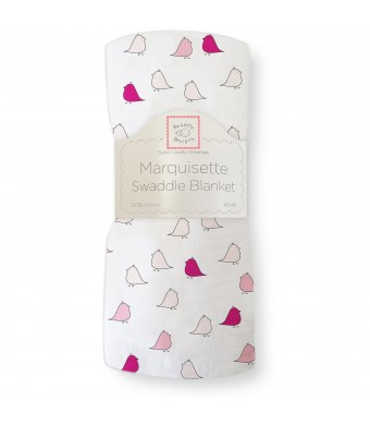 SwaddleDesigns Marquisette Swaddling Blanket, Jewel Tone Little Chickies, Very Berry