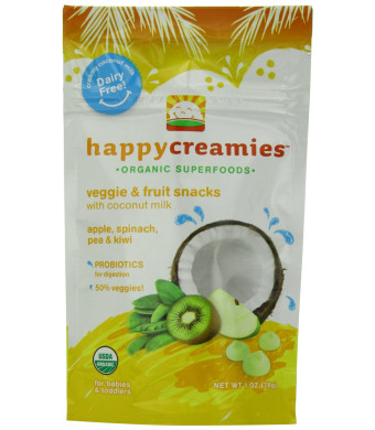Happy Creamies Organic Veggie and Fruit Snacks with Coconut Milk - Apple Spinach Pea and Kiwi - 1 oz (Pack of 8)