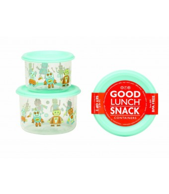 Sugarbooger Good Lunch Snack Container, Retro Robot, 2-Count