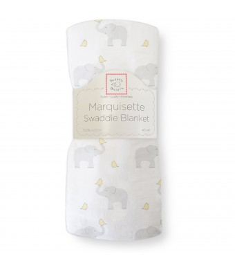 SwaddleDesigns Marquisette Swaddling Blanket, Elephant and Chickies, Pastel Yellow