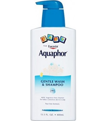 Aquaphor Baby Gentle Wash and Tear Free Shampoo, Fragrance Free Mild Cleanser, 13.5 Ounce