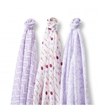 SwaddleDesigns SwaddleLite, Lush Lite, Lavender (Set of 3)
