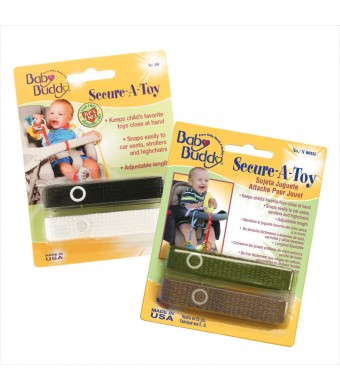 Baby Buddy 4 Count Secure-A-Toy Straps, Black/White/Tan/Olive