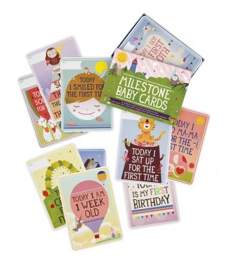 Milestone Baby Cards Gift Set -first Smile, First Steps, First Words and 25 Other Magical Baby Moments