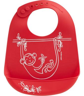 Modern-twist Baby Silicone Bucket Bib, Monkey Business, Red