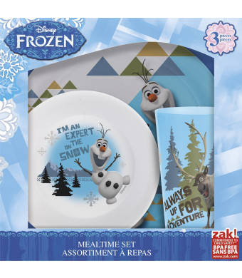 Zak! Designs 3-Piece meal time set with Olaf and Sven from Frozen, Plate, Bowl and Tumbler, BPA-free