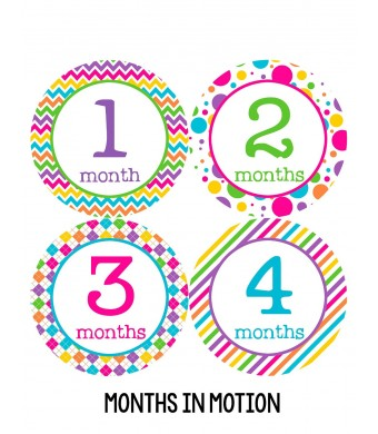 Months in Motion 198 Monthly Baby Stickers Baby Girl Month 1-12 - Milestone Age