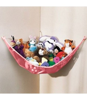 Dozenegg Stuffed Animal and Toy Organizer Hammock Pet Net, Pink Net and Trim