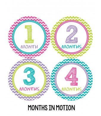 Months in Motion 293 Baby Month Stickers Baby Girl Chevron Months 1-12 Monthly Age Sticker