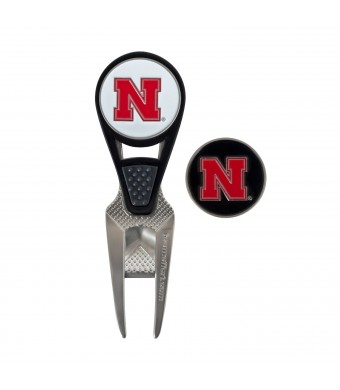 Nebraska Golf Ball Mark Repair Tool and Ball Markers