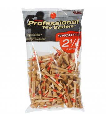 Pride Professional Tee System Shortee Tee, 2-1/8 Inch -120 Count (Red on Natural)