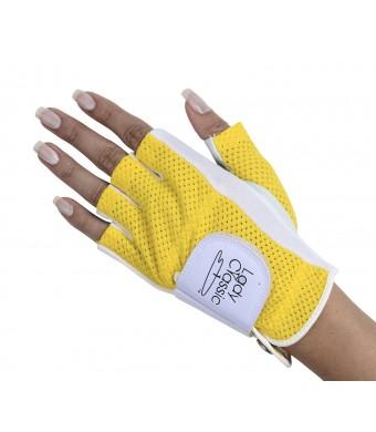 Lady Classic Half Glove (Left Hand), White and Yellow, Small
