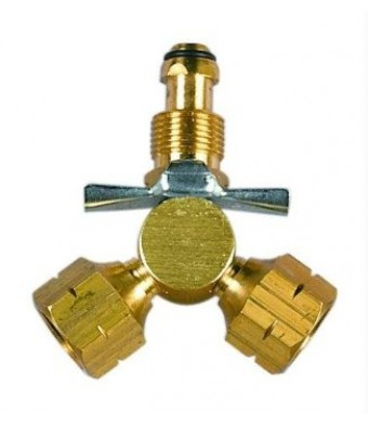 Century Y Female POL Propane Adapter, Brass
