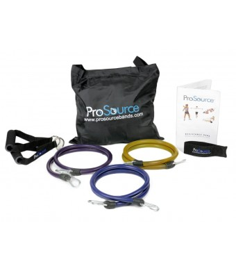 ProSource XTREME Premium Heavy Duty Double Dipped Latex Stackable Resistance Bands Set with Extra Large Handles, Door Anchor, Carrying Case, and Exer