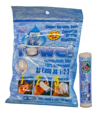 EZ Towel with New Durable Tube and Packaging, 50 Pieces