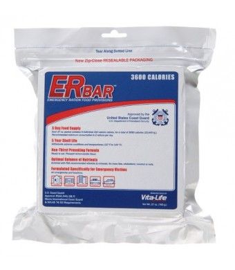 ER Emergency Ration 3600+ Calorie, 5-Year Emergency Food Bar for Survival Kits and Disaster Preparedness