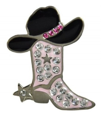 Navika Cowgirl Boot Swarovski Crystal Ball Marker with Hat Clip