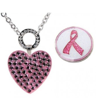 Navika Magnetic Necklace with Swarovski Crystal Pink Heart and Glitzy Pink Ribbon Ball Markers