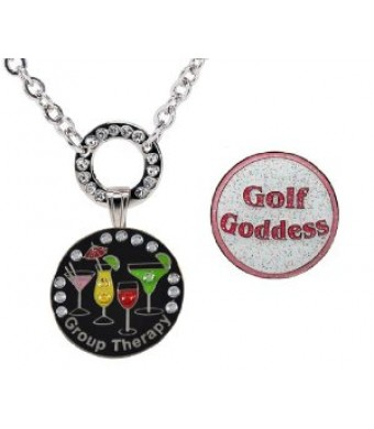 Navika Magnetic Necklace with Swarovski Crystal Group Therapy and Glitzy Golf Goddess Ball Markers