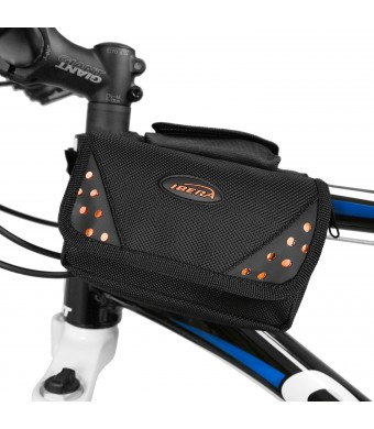 Ibera Bicycle All Weather Top Tube Mini Panniers with Phone/Camera Pocket
