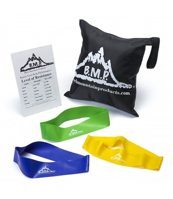 Black Mountain Products Resistance Loop Bands Set of Three with Starter Guide and Carrying Bag