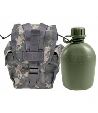 Military Outdoor Clothing Never Issued U.S. G.I. 1 quart Olive Drab Military Canteen with Previously Issued U.S. G.I. 1 quart ACU MOLLE Canteen/Gener