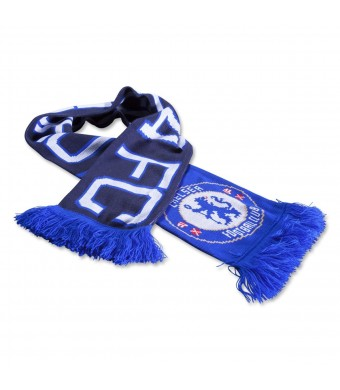 CHELSEA FC Official Blue Black White Jacquard Scarf NR Knit 1905