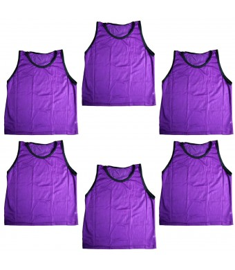 BlueDot Trading Adult Sports Pinnies High Quality Scrimmage Training Vests (6-Pack), Purple