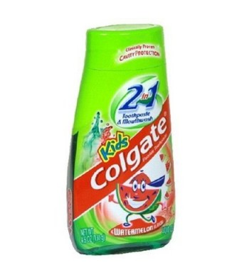 Colgate Kids 2 In 1 Toothpaste and Mouthwash, Watermelon Flavor, 4.6 oz (130 g)