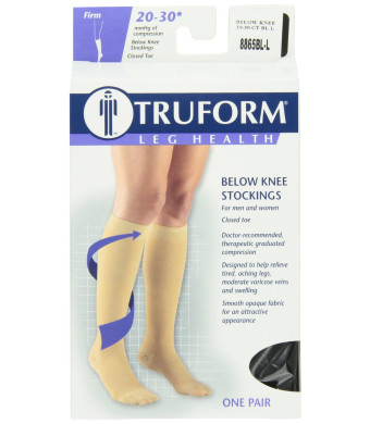 Truform 8865, Compression Stockings, Below Knee, Closed Toe, 20-30 mmhg, Black, Large