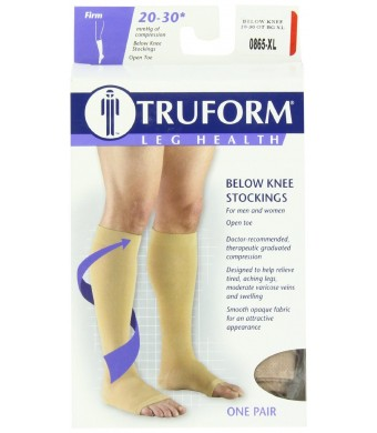 Truform 0865, Compression Stockings, Below Knee, Open Toe, 20-30 mmHg, Beige, X-Large