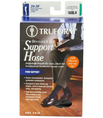 Truform 1945, Compression Socks, Thigh High, 20-30 mmHg, Black, Medium