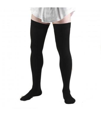 Truform 1945, Compression Socks, Thigh High, 20-30 mmHg, Black, X-Large