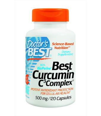 Doctor's Best Curcumin C3 Complex with BioPerine (500 Mg), Capsules, 120-Count