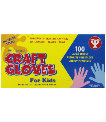 Hygloss 97100 Colored Craft Latex Gloves, Kids, Assorted Colors, 100-Pack
