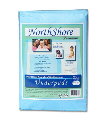 NorthShore Premium Blue Disposable Underpads (Chux), Small Size 17 x 24, Pk/25