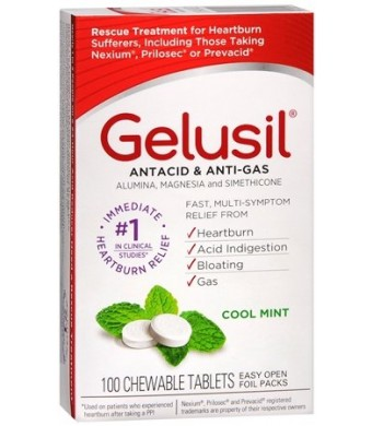 Gelusil Antacid/Anti Gas Chewable Tablets, 100 ct