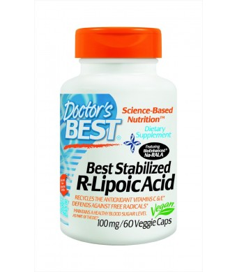 Doctor's Best Best Stabilized R-Lipoic Acid Featuring Bioenhanced Na-RALA (100 mg), Vegetable Capsules, 60-Count