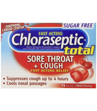 Chloraseptic Total Sugar Free Multi-Symptom Lozenges, Cherry, 15 Count