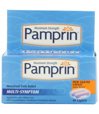 Pamprin Maximum Strength Multi-Symptom Menstrual Relief Caplets, 40 Count Box.