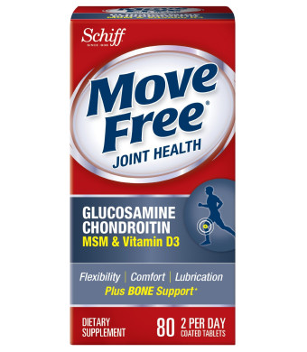 Move Free Glucosamine Chondroitin MSM Vitamin D3 and Hyaluronic Acid Joint Supplement, 80 Count