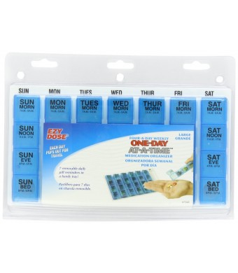 Apothecary Products EZY Dose Medication Organizer, Assorted Blue/Green/Clear, 0.65 Pound