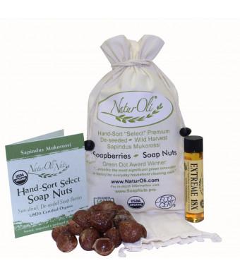 NaturOli Soap Nuts / Soap Berries 1/2-Lb USDA ORGANIC (120 loads) + 18X BONUS! (12 loads) Select Seedless. Wash Bag, Tote Bag, 8-pg info. Organic Laundry Soap / Natural Cleaner. Processed in USA!