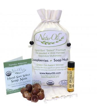 NaturOli Soap Nuts / Soap Berries. 1-Lb USDA ORGANIC + 18X BONUS! Select Seedless. Wash Bag, Tote Bag, 8-pg info. Organic Laundry Soap / Natural Clea