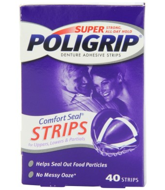 Super Poligrip Comfort Seal Denture Adhesive Strips, 40-Count Boxes (Pack of 4)